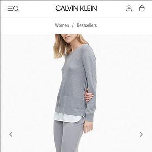 Calvin Klein Layered Look grey sweater
